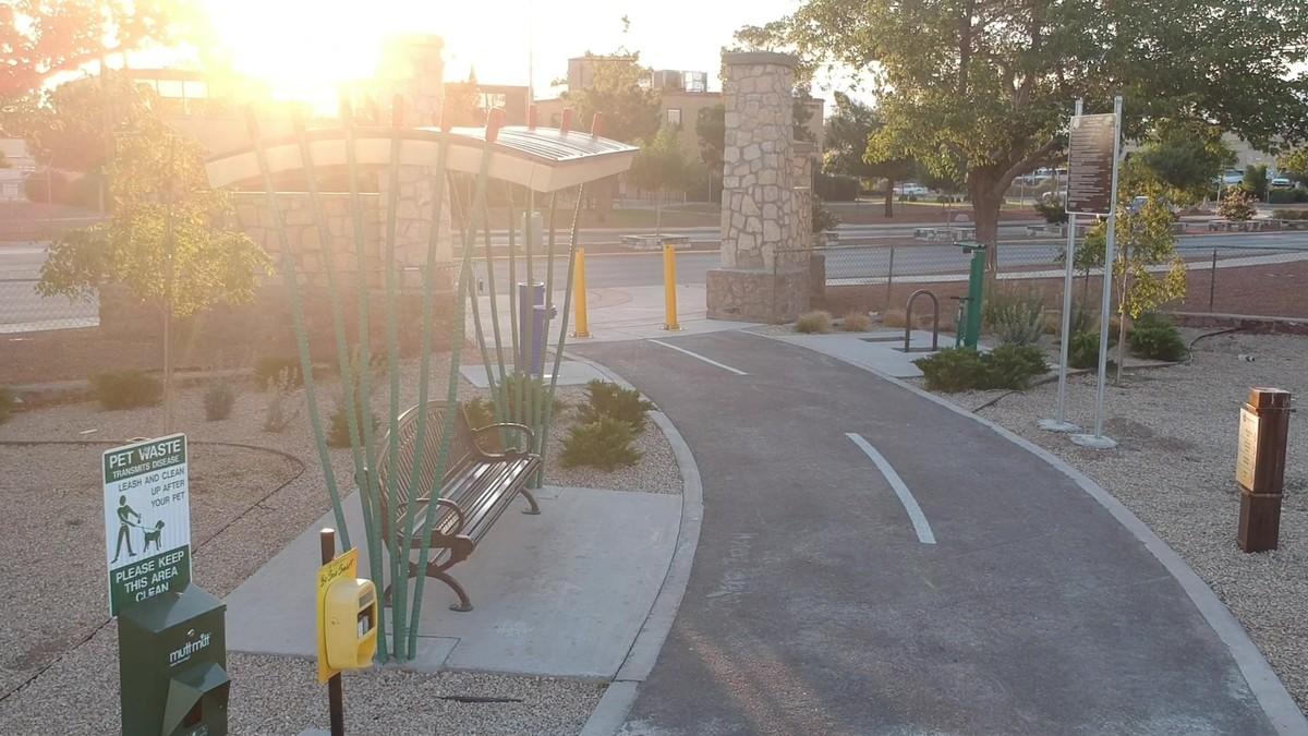 Playa drain trail amenities at sunset